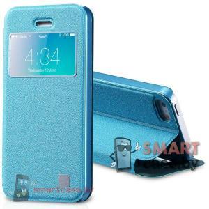 Кожаный чехол стенд с окном для iPhone 5/5s TakeFans (голубой)