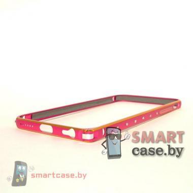 Бампер для iPhone 6 алюминиевый (малиновый с золотой полосой и стразами)