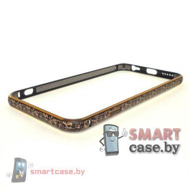 Бампер для iPhone 6 алюминиевый (черный с золотым узором)
