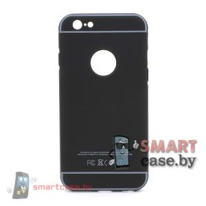 Алюминиевый бампер + крышка Софт Тач для iPhone 6/6S (Черный)