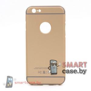 Алюминиевый бампер + крышка Софт Тач для iPhone 6/6S (Золотой)