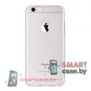 Силиконовый чехол для iPhone 6/6S HOCO (прозрачный с серебряным узором)