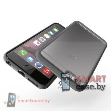 Бампер для Apple iPhone 6/6S акриловый пластик + силикон (Черный)