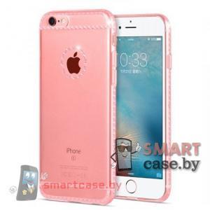 Силиконовый чехол для iPhone 6/6S HOCO (прозрачный с розовым узором)