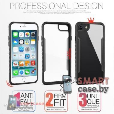Бампер для Apple iPhone 7 / 8 акриловый пластик + силикон (Красный)