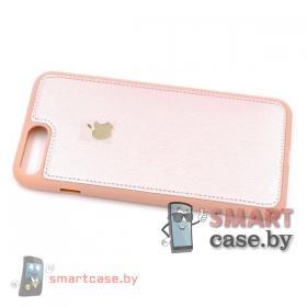 Силиконовый чехол для iPhone 7 Plus, 8 Plus Кожа со строчкой (розовое золото)