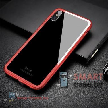 Бампер для iPhone X/XS силикон + пластик Baseus (красный)