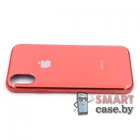 Силиконовый чехол Glass Case для iPhone X/XS (коралловый)