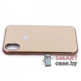 Силиконовый чехол Glass Case для iPhone X/XS (серый мрамор)