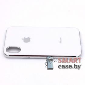 Силиконовый чехол Glass Case для iPhone X/XS (белый)