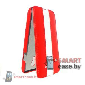 Чехол флип для Samsung Galaxy S4 кожаный iCon Style (Красный с белым)