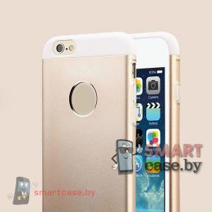 Чехол накладка для iPhone 6 алюминиевый TOTU (белый с золотом)