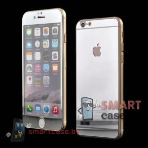 Закаленное стекло 2в1 для iPhone 6/6s на две стороны (серебро)