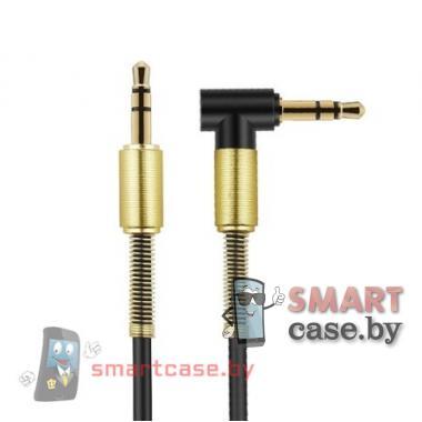 AUX аудио кабель 3,5 mm Jack, 1000 mm, пружинка (черный)