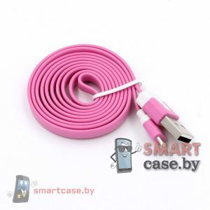 Дата-кабель USB для зарядки и синхронизации Apple Lighting плоский (Розовый)