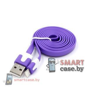 Дата-кабель USB для зарядки и синхронизации Apple Lighting плоский (Фиолетовый)
