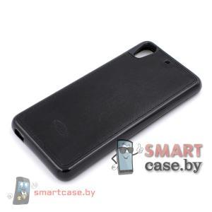 Силиконовый чехол-накладка для HTC Desire 626 кожа со строчкой (Черный)
