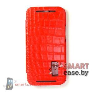 Чехол - книжка для HTC One M8 Armor (красный крокодил)