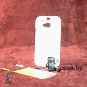 Силиконовый чехол для HTC One M8 + пленка + стилус iMuca (молочно белый глянец)