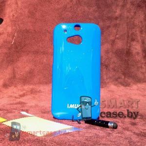 Силиконовый чехол для HTC One M8 + пленка + стилус iMuca (королевский синий глянец)