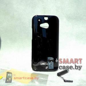 Силиконовый чехол для HTC One M8 + пленка + стилус iMuca (черный глянец)
