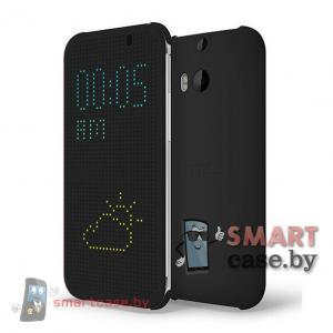 Умный чехол Dot View для HTC ONE 2 M8 (черный, копия)