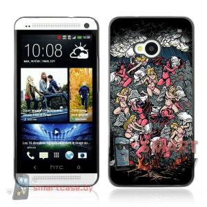 Накладка для HTC M7 алюминиевая (ангелы и демоны)