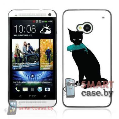Алюминиевый чехол для HTC One M7 (черный кот)