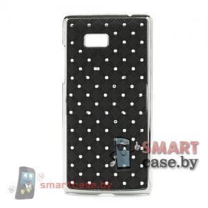 Накладка для HTC one со стразами (черная)