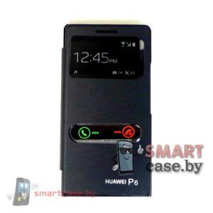 Чехол для Huawei Ascend P6 с окошком (черный глянцевый)