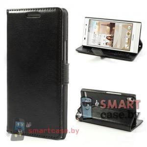 Кожаный кошелек - чехол для Huawei Ascend P6 (Черный)