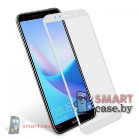 Защитное стекло для Huawei Y6 Prime 2018 на весь экран (Белое)