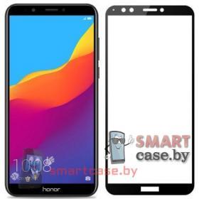 Защитное стекло для Huawei Y6 Prime 2018 полная проклейка (Черное)
