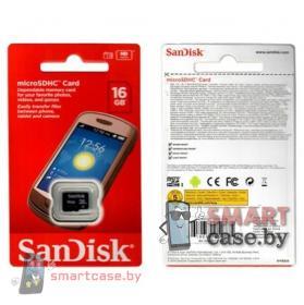 Карта памяти MicroSDHC Sandisk 16GB 10 class
