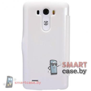 Кожаный чехол флип для LG G3 (D850) Nillkin (белый)