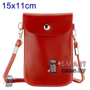 Универсальная кожаная сумочка для телефонов 15*11 см (бордовая)