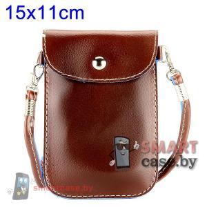 Универсальная кожаная сумочка для телефонов 15*11 см (коричневая)