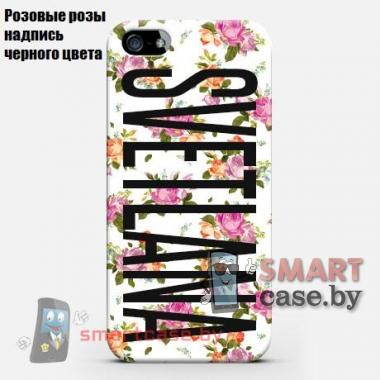 Именной чехол для iPhone 6 plus на заказ с вашим текстом (цветочные мотивы)