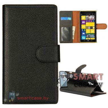 Чехол книжка для Nokia Lumia 1520 кожаный (черный)