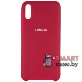 Силиконовый чехол Silicone Cover для Samsung Galaxy A10 (Малиновый)