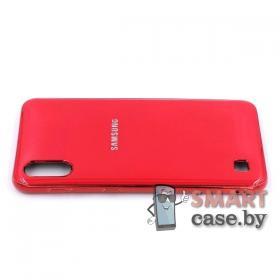Силиконовый чехол Glass Case для Samsung Galaxy A10 (Красный)