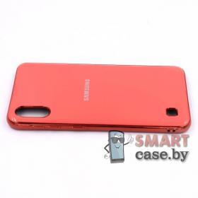 Силиконовый чехол Glass Case для Samsung Galaxy A10 (Коралловый)