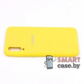 Силиконовый матовый бампер для Samsung Galaxy A50 (жёлтый)