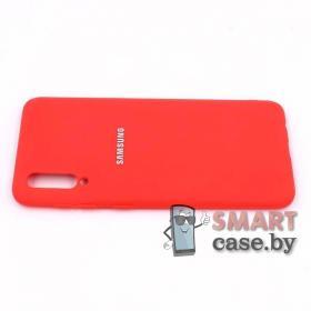 Силиконовый матовый бампер для Samsung Galaxy A50 (красный)