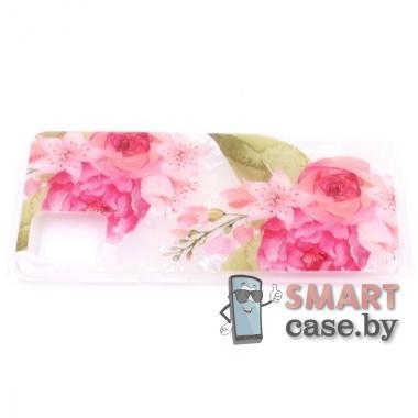 Силиконовый чехол для Samsung Galaxy A51 (розовые цветы)
