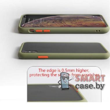 Силиконовый матовый противоударный чехол для Samsung Galaxy A51 (Хаки)