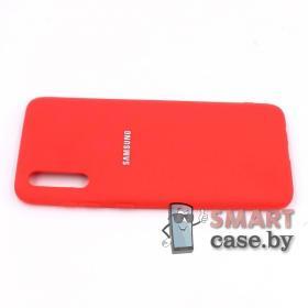 Силиконовый матовый бампер для Samsung Galaxy A70 (красный)