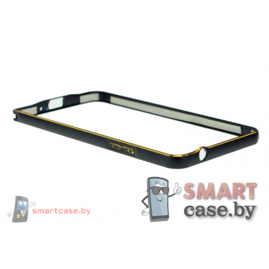 Бампер для Samsung Galaxy Grand Prime (G530H) алюминиевый (Черный с золотом)