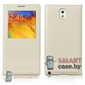 Кожаный чехол для Samsung Galaxy Note 3 с окном HOCO (белый)