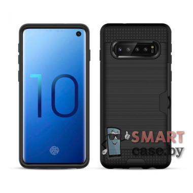 Гибридный чехол-накладка для Samsung Galaxy S10 с карманом для карт (Черный)